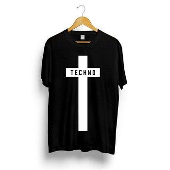 Techno Cross Printed T-shirt Mens Womens Unisex Music Festival Black Detroit Tee Top Summer Streetwear Camiseta Masculina - discount item  32% OFF Tops & Tees