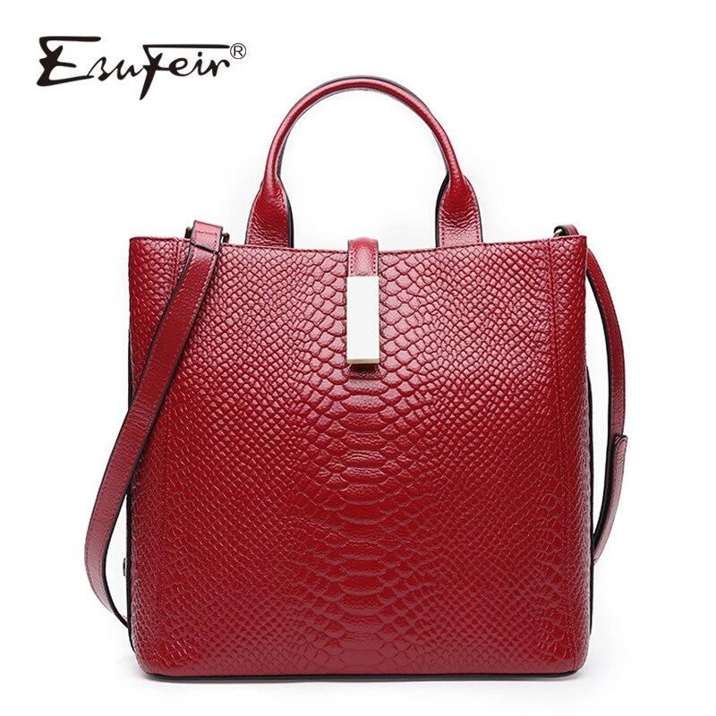 ESUFEIR натуральная кожа сумки для Для женщин из коровьей кожи серпантин тиснением сумка известный бренд Для женщин сумка Повседневное сумки