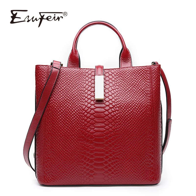 ESUFEIR Genuine Leather Handbag For women Cow Leather Serpentine Embossed Shoulder Bag Famous Brand Women Bag Casual Tote Bags esufeir genuine leather handbag for women fashion brand designer shoulder bags cow leather crossbody bag ladies trapeze tote bag