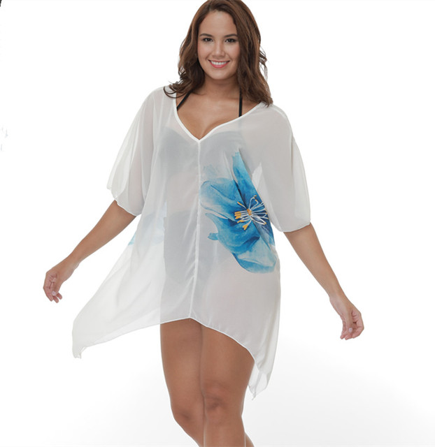 f6fc4474b82fa Plus Size Swimsuit Women Chiffon Flower Print Pareo Beach Cover up Summer Bathing  Suit Cover Ups Girls Sexy Large Size Swimwear