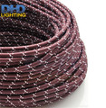 Free shipping wine&white mixed color 100Meters 2x0.75 Vintage textile Cable Retro fabric Electrical Wire fabric cable cord