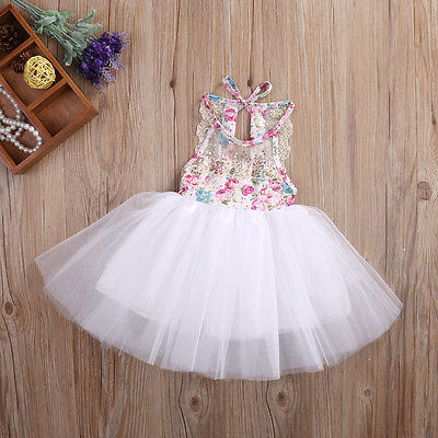 Lace Ball Gown Girls Dresses Newborn Baby Kids Girls Tulle Tutu Floral Dress Backless Party Dresses Summer Children Clothing ems dhl free 2018 new lace tulle baby girls kids sleeveless party dress holiday children summer style baby dress valentine