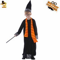 DSPLAY Kids Harry Potter Costume Cute Black Robe Cartoon Movie Character For Halloween Christmas Carnival Party