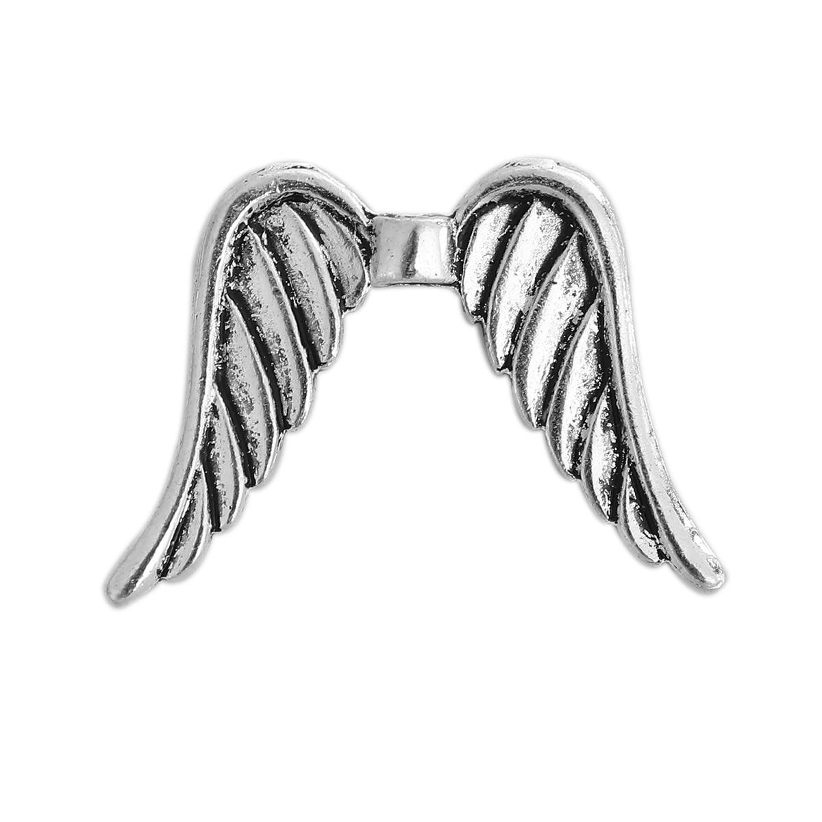 Цинковый сплав на основе Spacer крыло старинное серебро 32 мм (2/8 «) x 24 мм (1 «), отверстие: Приблизительно 2,2 мм, 10 шт.
