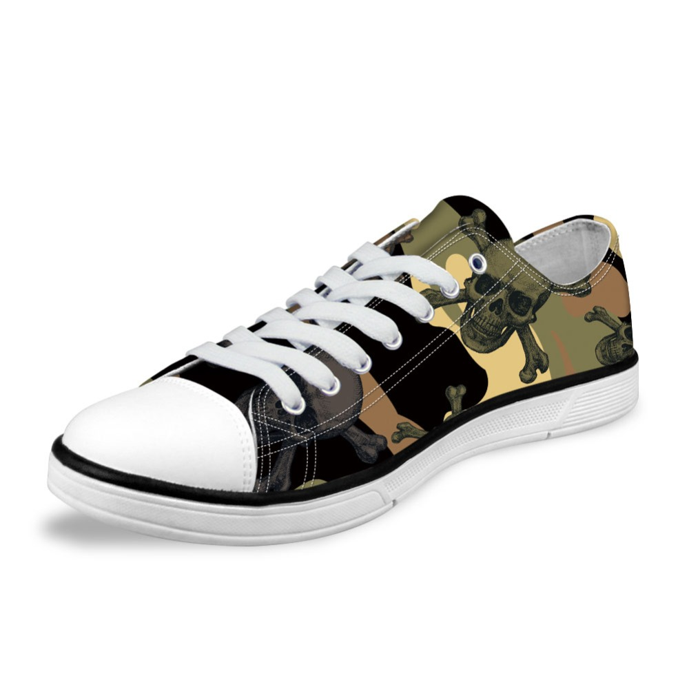 NOISYDESINGS Spring Camouflage Skull Printed Shoes Black Men's Classic Canvas Shoes 3D Colorful Canvas Shoes For Men shose flats