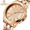 Mujeres del reloj de Oro Caja Grande KINGSKY Relojes de Marca Famosa de Las Nuevas Mujeres Casual Japón de Moda Mujer Reloj de Cuarzo 2016 Relojes de Pulsera