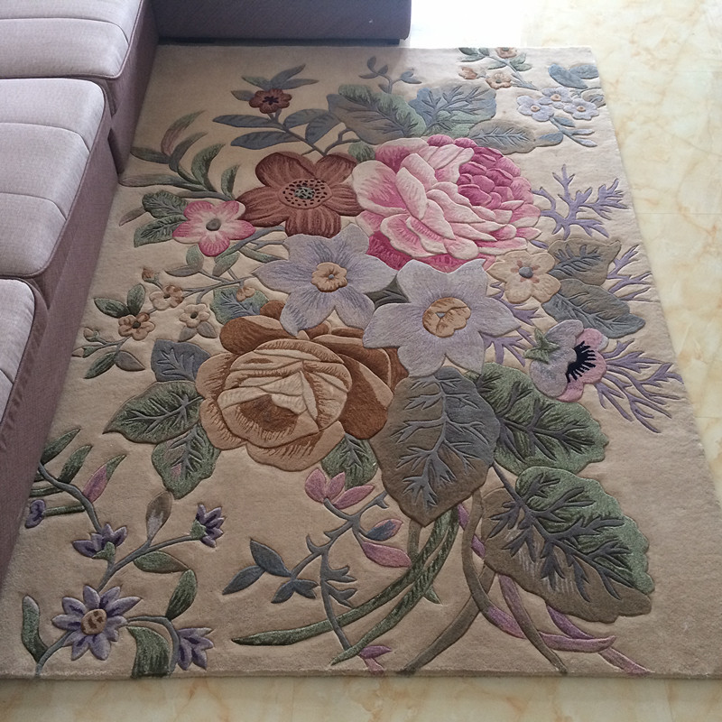 Traditional Chinese Floral Carpets For Living Room 100% Wool Rugs For Bedroom Sofa Coffee Table Floor Mat Villa Study Carpet Rug