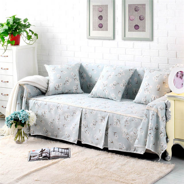 Modern Floral Cotton Linen Slipcover Sofa Cover Protector For Living Room  Home Decor With Four Sizes