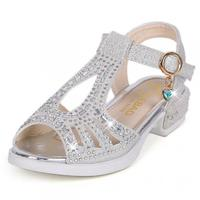 Crystal High Heels Kids Shoes For Girl Party Dance Sandals Princess Rhinestone Shoe Leather Children Sandals