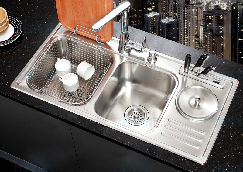 (900*460*210mm) 304 Stainless Steel Kitchen Sink Brushed Triple Bowl Undermount Kitchen Sinks with Faucet Drainer Assembly Suite
