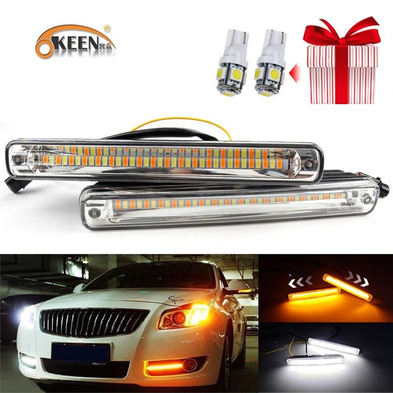 OKEEN 1 paar Autos LED DRL Tagfahrlicht Wasserdicht COB drl Weiß Tag Licht + Gelb Farbe Drehen Signal nebel Licht 12 v