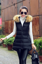 2016  Hot sale  fashion Winter jacket Womens Long  Sleeveless Jacket Faux Fur Collar Hooded Down Cotton Warm
