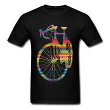 купить Fitted Men T Shirt Custom Tshirt Vintage Rustic Grunge Racer Bicycle O-Neck 100% Cotton Tops & Tees Husband Gift Tee-Shirts по цене 398.6 рублей