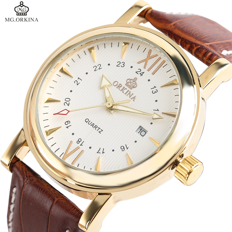 ORKINA Top Brand Gold Stainless Steel Date Men's Quartz Watch Luxury Genuine Leather Mens Clock Relogio Masculino + Gift Box orkina 2016 mens watches top brand luxury rose gold wrist watch men dress quartz auto date man business clock relogio masculino
