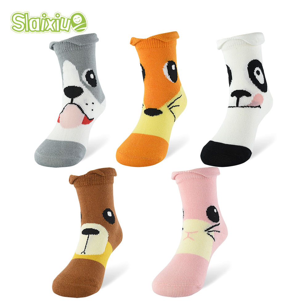 5Pair/lot Cartoon Animal Boys Girls Socks Soft Cotton Baby For Children Clothing Gifts Breathable Kids Socks For 1-10 Years