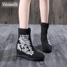 Veowalk טקסטיל זמש נשים רקום קצר קרסול מגפי 6.5cm נסתר טריז בציר גבירותיי נוחות רך כותנה מגפוני נעליים