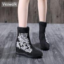 Veowalk Textile Suede Women Embroidered Short Ankle Boots 6.5cm Hidden Wedge Vintage Ladies Comfort Soft Cotton Booties Shoes