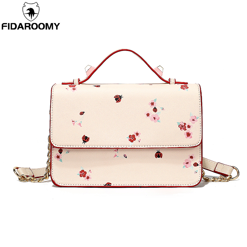 Women Concise Printing Shoulder Bags Cute Pink Flower Chain Flap Bags Ladies Small Messenger PU Leather Handbags Girls shopping