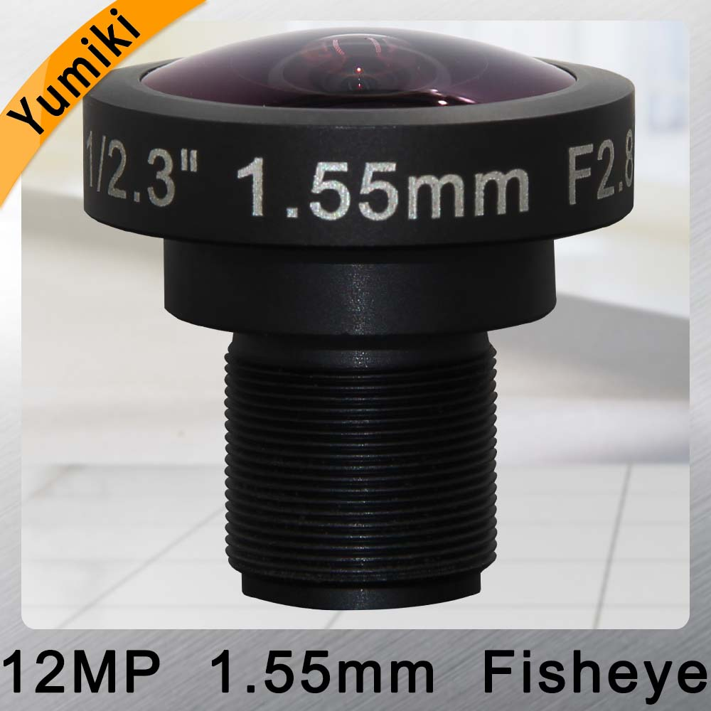 Yumiki CCTV LENS 12MP 1.55mm M12 1/2.3 F2.8 lens Fisheye wideangle for CCTV Security camera IP camera