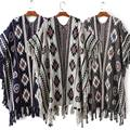 HOT Fashion Autumn Winter Women Fringed Ethnic Retro Sweaters Bat Sleeve Shawl Poncho Cape Knitwear Cardigan