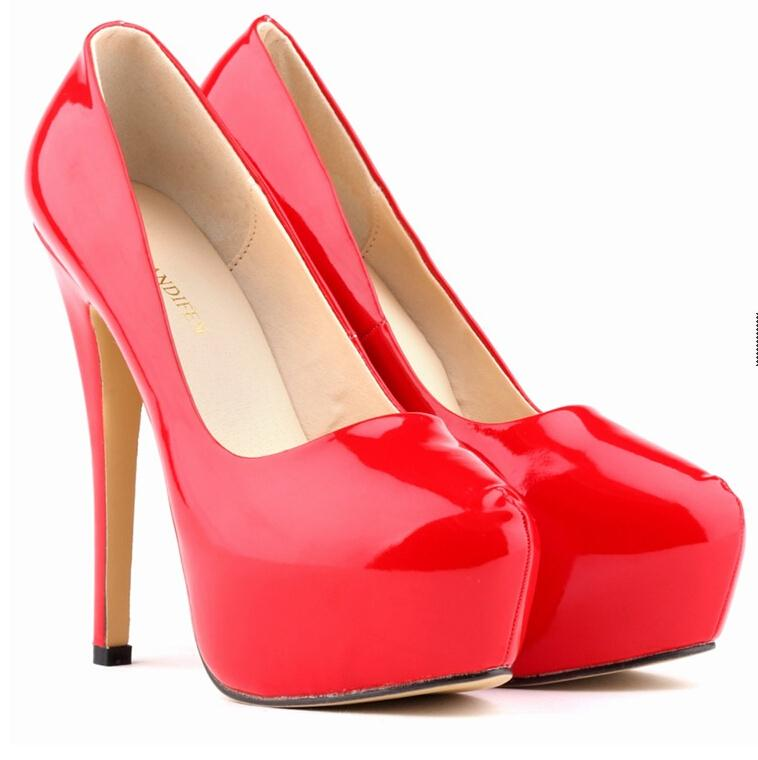 10 42plus size platform high heel pumps 2016 womens point toe nightclub patent leather high heels shoes red