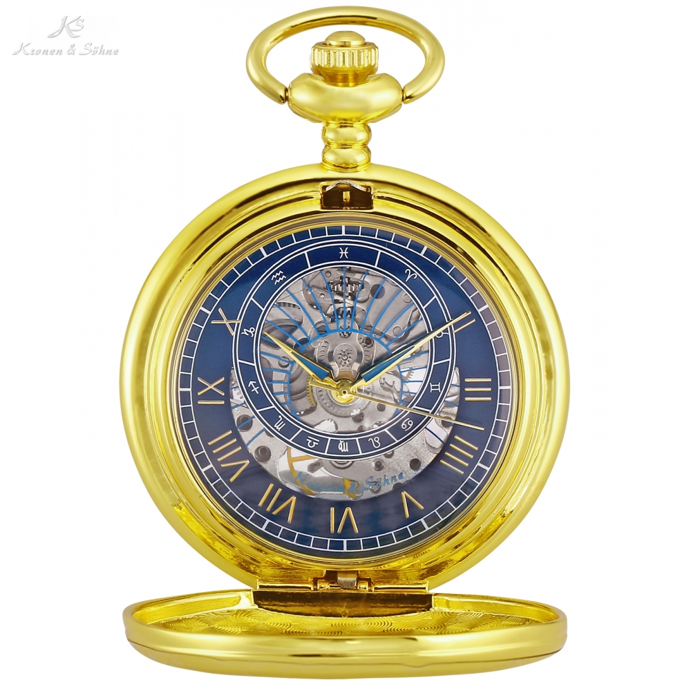 KS Luxury Golden Twelve Constellations Roman Number Clock Male Fobs Chain Mechanical Pocket Watches Jewelry Pendant Gift /KSP118 ks black skeleton gun tone roman hollow mechanical pocket watch men vintage hand wind clock fobs watches long chain gift ksp069