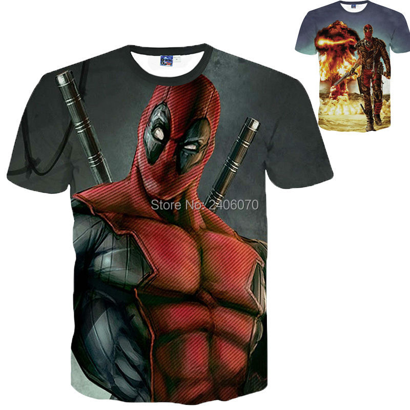 deadpool superhero teenagers boys clothes summer t-shirt 3D shirt American Comic Badass brand spiderman Costumes For teens