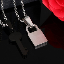Classic Lock Key Design Couple Necklace For Women Men Engraved Love Heart Stainless Steel Lover Wedding Jewelry 20″ Chain
