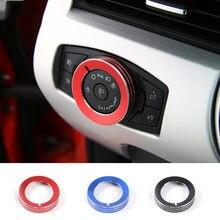 SHINEKA-cubierta de interruptor para lámpara de coche, moldura de aleación de aluminio para Ford Mustang 2015 +