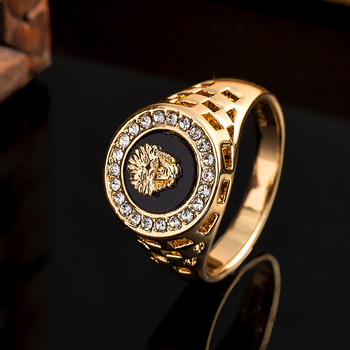 Punk Men Lion Head Rings Crystal Enamel Ring for Women Gold Alloy Hollow Finger Rings Vintage Hip Hop Rock Party Brand Jewelry