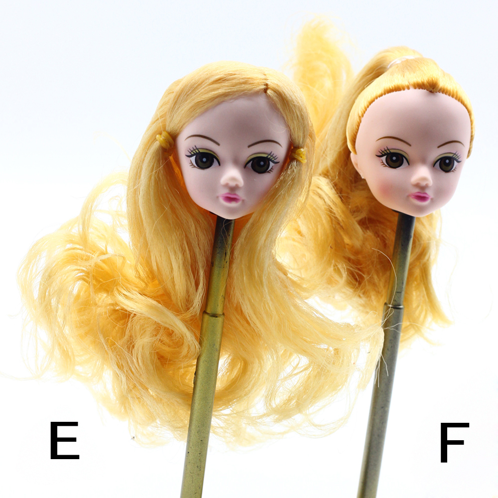 1Pcs Fashion Beautiful Cute Doll Head Golden Curly Hair DIY Accessories For Barbie Doll Best Girl