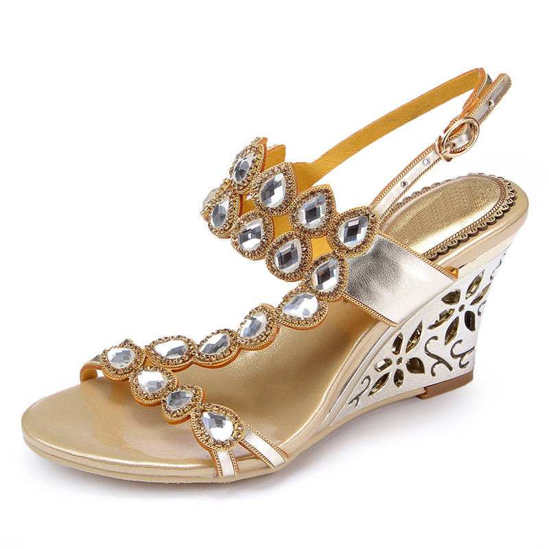 OnnPnnQ Wedge Heels Rhinestones Women Dress Sandals Open Toe Buckle Strap Heeled Prom Evening Wedding Party Summer Sandals