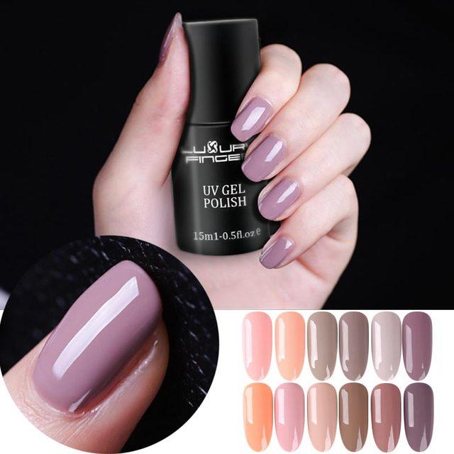 Luxury Finger 15ML Soak Off Led UV Gel Nail Polish Varnish Nude ...