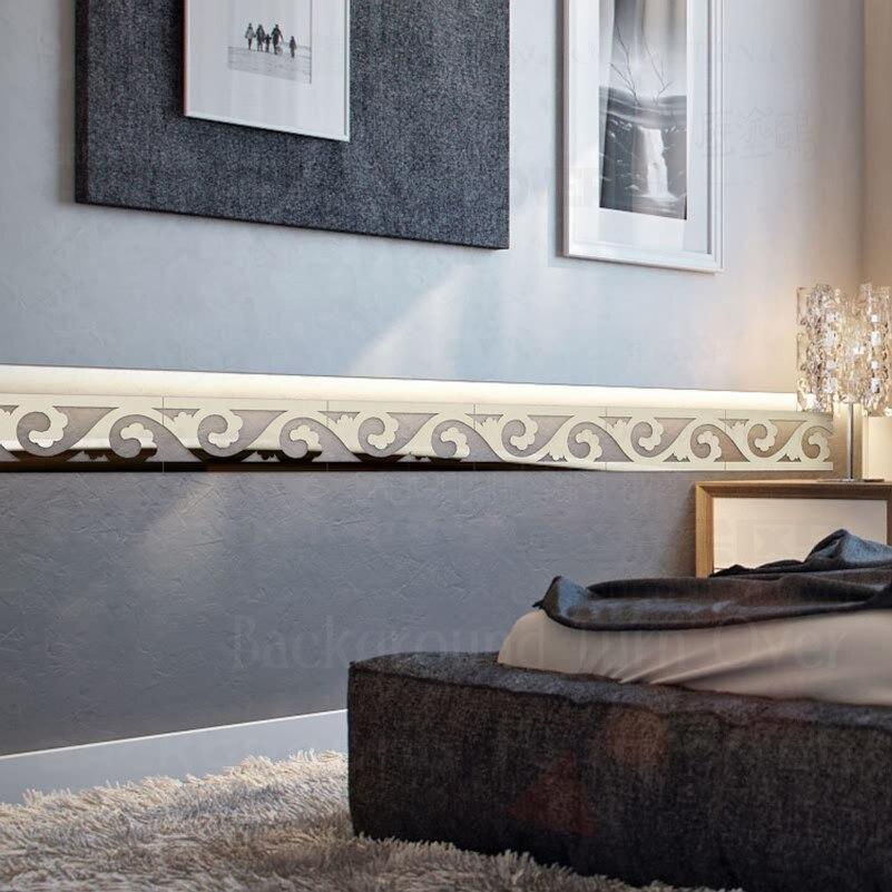 Aliexpress.com : Buy Elegant Scroll Grass Pattern 3d Acrylic Mirror Wall  Border Sticker Mural Living Room Bedroom Waist Line Decoration Wall Art  R067 From ... Part 46