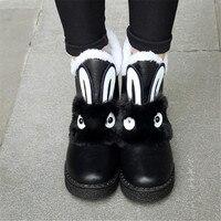 Tamaño 34-45 Mujeres Del Invierno Del Otoño Animal Conejo Botines Negro gris blanco de Nieve caliente Botas de Cuero Ocasionales de la Plataforma botas Zapatos