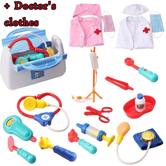 bbbfae009caea + Colthes Kid doctor set Mini Médicos Herramientas kit Juegos de  imaginación casa enfermera juguete para