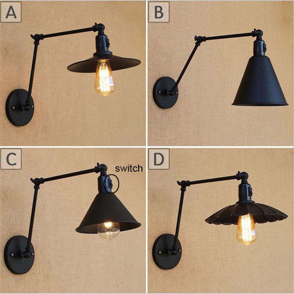 American retro Swing two arms industrial Wall lamp lighting black switch on off sconces arandelas para banheiro antique iron