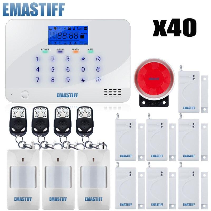 40pcs Wireless GSM Home Alarm System Quad Band 99 Zones House Security Voice Burglar Alarm Intelligent Motion Sensor