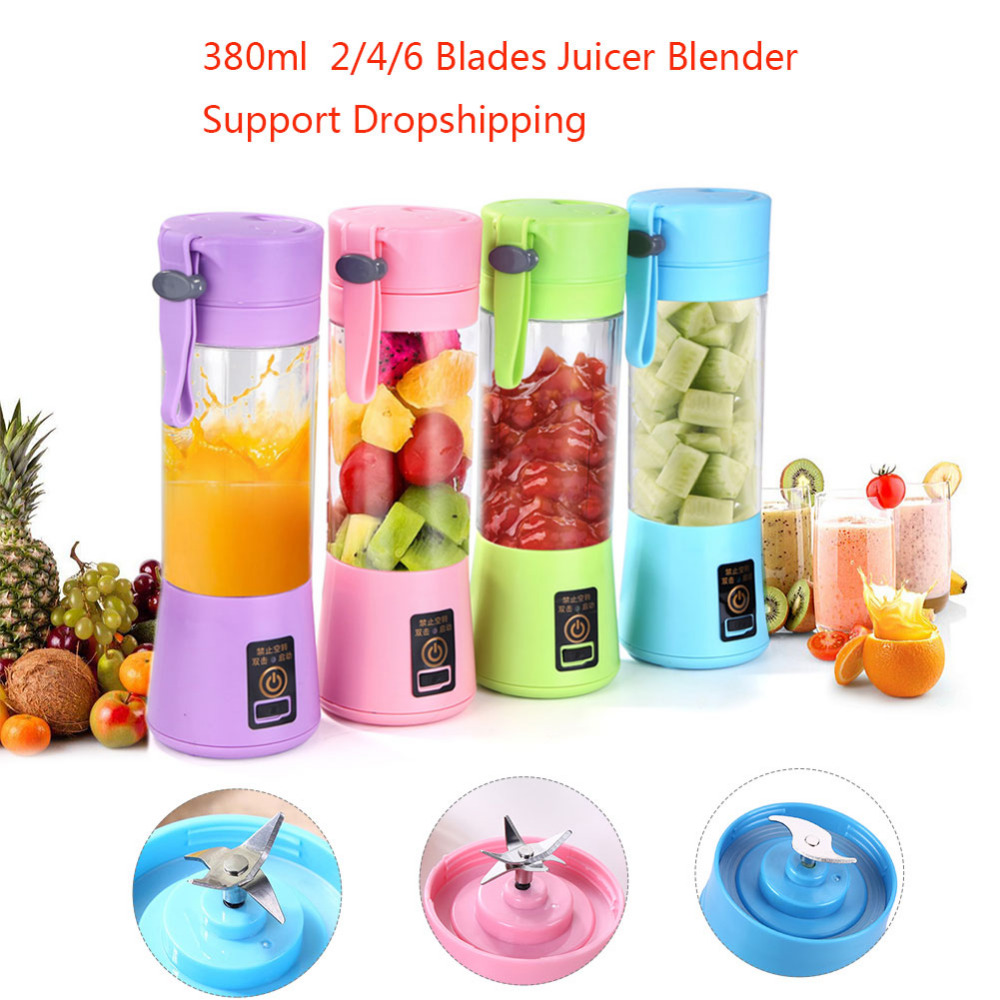 380ml 2/4/6 Blades USB Juicer Blender Portable Fruit Baby Food Milkshake Mixer Meat Grinder Multifunction Juice Machine Dropship