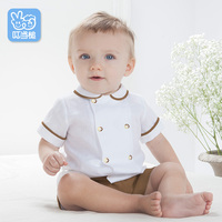 Dinstry 2018 Summer Baby Clothes England Style Suit For The Boy Girl Short Sleeve Children Kids