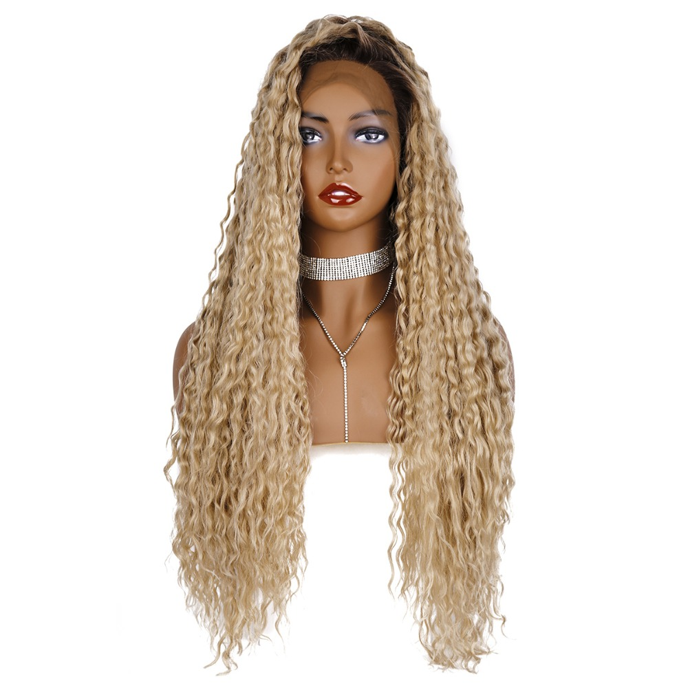 StrongBeauty Synthetic Lace Front Wig Ombre Long Curly Hair Silver-grey/Black roots wigs for Women title=