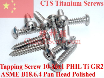 Titanium screws 10x1 Pan Head 2# Phillips Driver Ti GR2 Polished 50 pcs