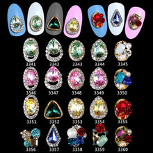 100PCS 3d Nail Art Decoration Green pink Strass Waterdrop Alloy Glitter with Rhinestones ,Alloy Charms,Jewelry****3341-3360