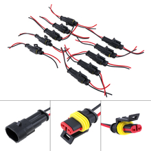 10pcs Waterproof 2 Pin Way Sealed Male & Female Electrical Connector Plug for Car Motorcycle Truck