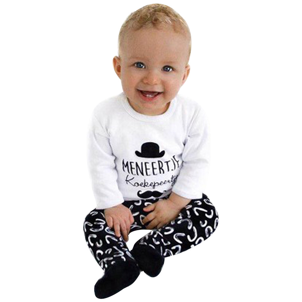 16a1334fffac5 Detail Feedback Questions about INS USPS Dropshipping 2018 Newborn Infant Baby  Boys Letter T shirt Tops+Pants 2Pcs Outfits Clothes Set vetement bebe garcon  ...