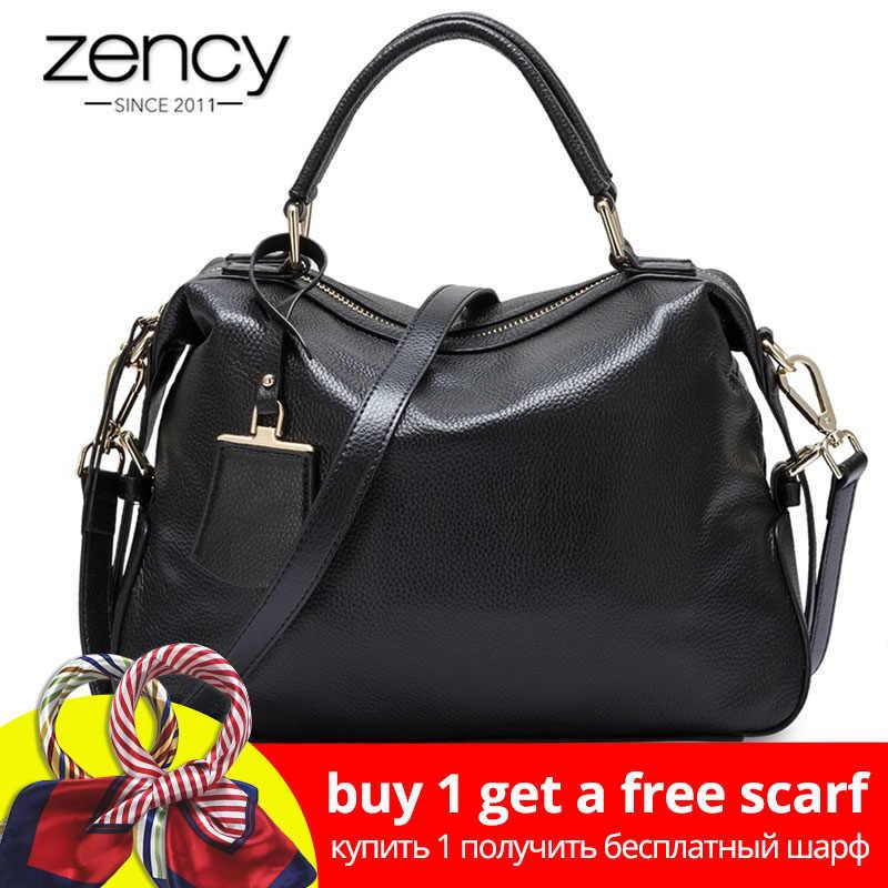Zency Fashion Women Tote Bag 100% Genuine Leather Handbags Female Boston  Charm Messenger Crossbody Purse bcf44139e3afd