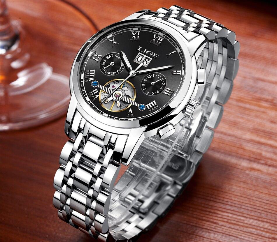 LIGE Mens Watches Top Luxury Brand Automatic Mechanical Watch Men Full Steel Business Waterproof Sport Watches Relogio Masculino
