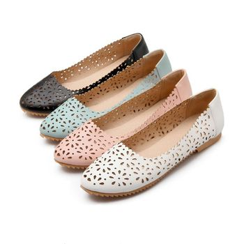 2017 Real Sale Plus Large Size 34-47 Women's Fashion Shoes Woman Flats Spring Female Ballet Metal Round Toe Solid Casual 8-13