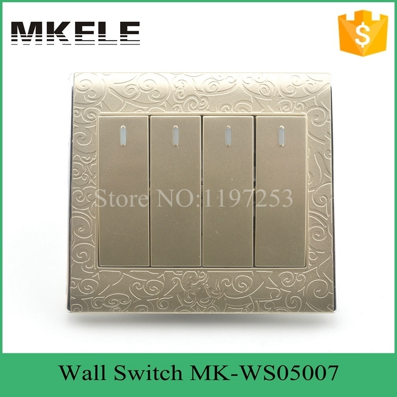 MK-WS05007 Residential and house using best price economy 4 gang 1 way touch wall switch,wall light with on off switch best price 5pin cable for outdoor printer