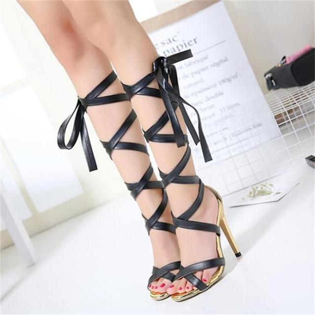 Hot Sale Brand Roman Sandals High Heels Women Pumps Summer Classic Stilettos Slingback Strappy Gladiator Knee High Boots Shoes